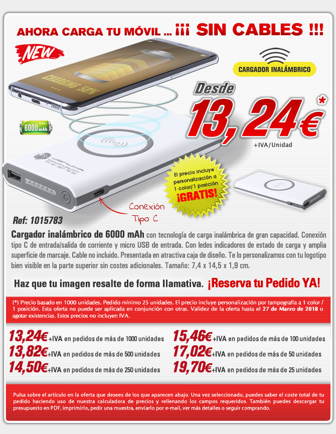 power bank inalambrico de 6000 mah