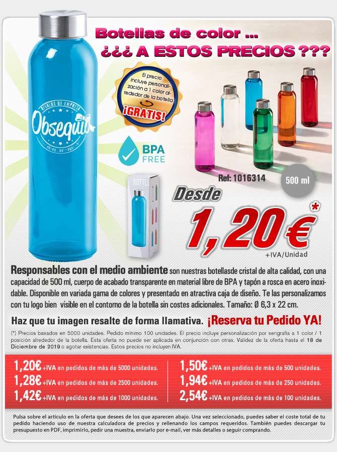 Oferta en botellas de 500ml a color