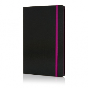 Libreta A5 con bordes en color, negro