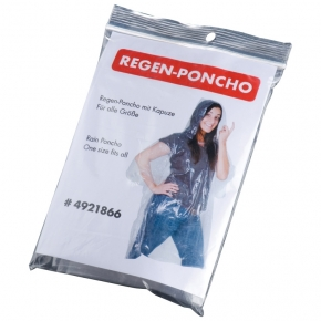 Impermeable tipo poncho, transparente.