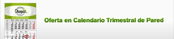 Oferta en calendario trimestral de pared